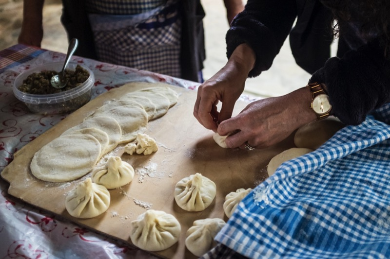 Making juicy Georgian meat dumplings, khinkali. Photo credit: Kees Sprengers