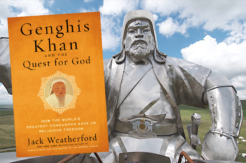 Jack Weatherford's latest book, pictured side-by-side with a stainless steel statue of Genghis Khan, visible from miles away near Ulaanbaatar. Photo credit: Alan Levin.