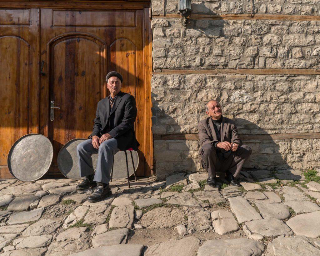 Locals taking a break on the cobblestone streets of Lahij village in Azerbaijan. Photo credit: Jered Gorman