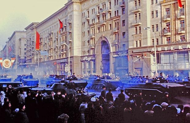 Soviet tanks roar along Moscow's main street in the Great October Revolution parade on November 7, 1980. Photo credit: Helen Holter