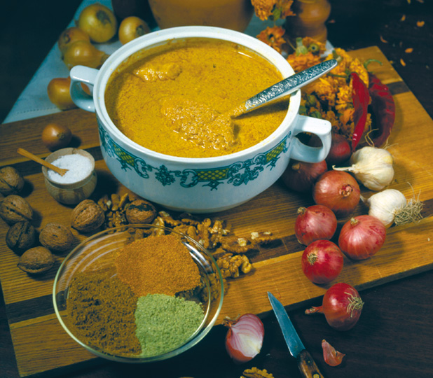 Satsivi, sauce made from ground walnuts.