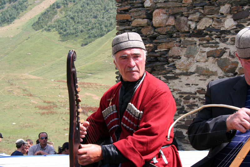 A local singer dons the traditional highland gear of Svaneti.