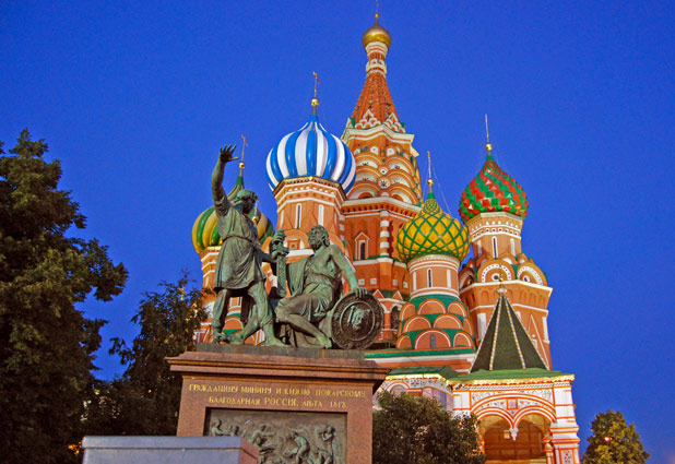 """Just outside St. Basil's stands the 1818 monument to """"Citizen Minin and Prince Pozharsky, Grateful Russia"""" for their heroics in liberating Moscow in 1612. Photo credit: Douglas Grimes"""