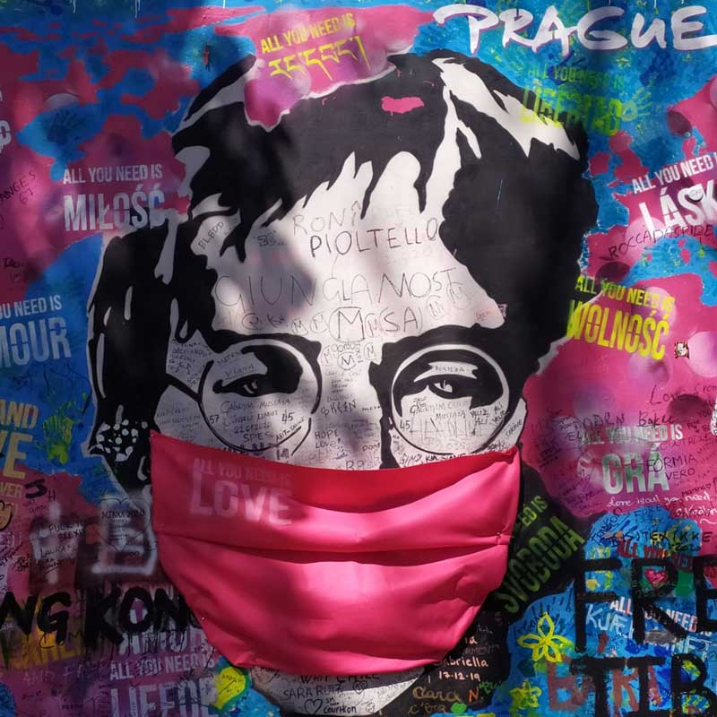 John Lennon artwork in Prague, Czech Republic. Photo credit: Martin Klimenta