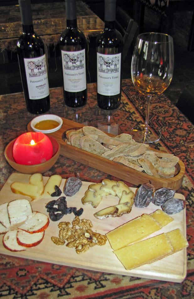Organic wines pair well with Georgian cheeses at Pheasants' Tears Winery. Photo credit: John Wurdeman