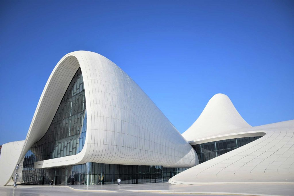 The Heydar Aliyev Center was designed by one of the world's most influential female architects, Zaha Hadid. (Baku, Azerbaijan) Photo credit: Y. Alasgarli