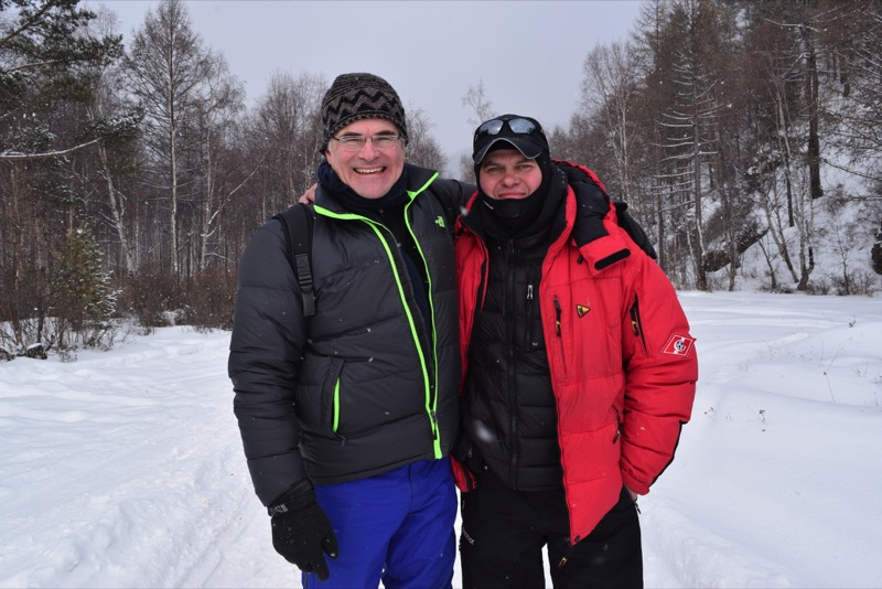 Doug and MIR Siberian Office Director Vlad don't mind the low temps. Photo credit: Douglas Grimes