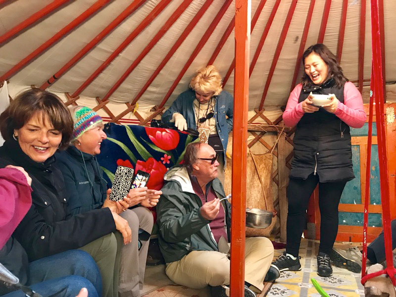 While in Ulgii, Mongolia, we visited a Kazakh nomadic family home where we were welcomed with plenty of traditional snacks and hot tea. Photo: Michel Behar