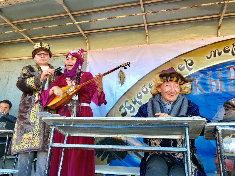 Musicians performing during the closing ceremony at Mongolia's Golden Eagle Festival. Photo: Michel Behar