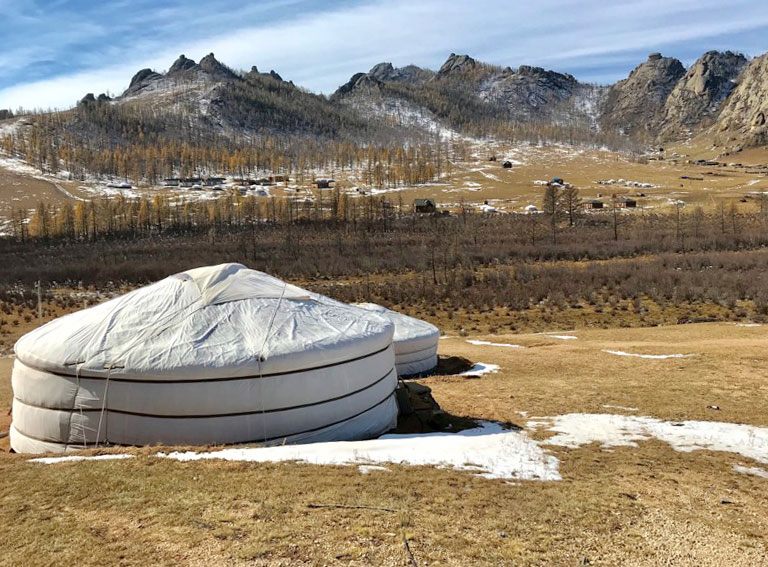 """We visited a local family in their """"ger""""while in Mongolia. Photo: Michel Behar"""