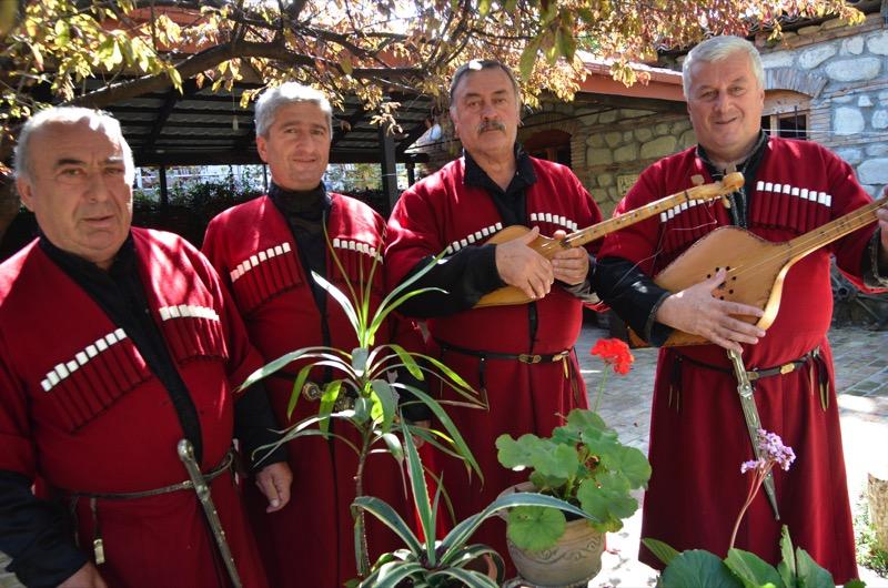 Georgian polyphonic singers pose for a photo after an outdoor concert. Photo credit: Peter Guttman