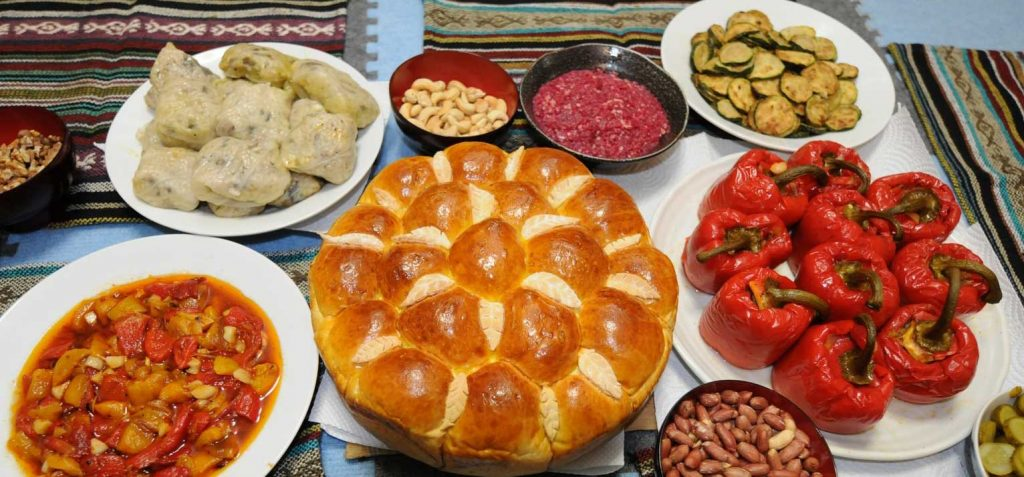 A table of traditional Bulgarian cuisine.