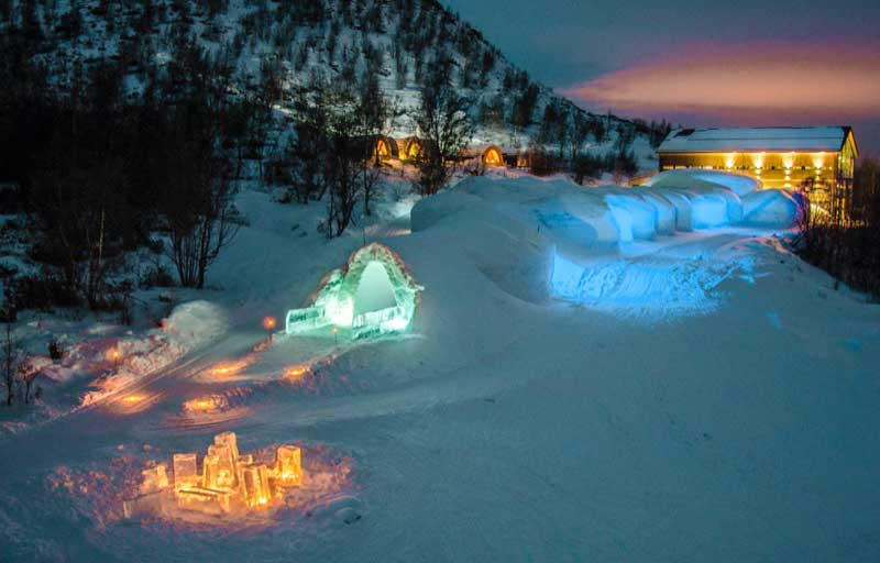 Outside the Snow Hotel in Kirkenes, Norway. Photo credit: Kirkenes Snow Hotel / Nevra Pictures