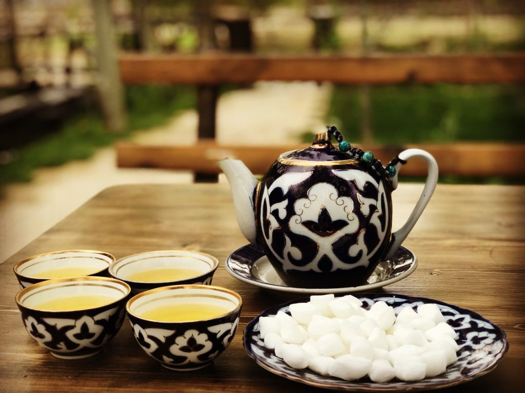 Enjoying tea in Samarkand, Uzbekistan. Photo credit: Abdu Samadov