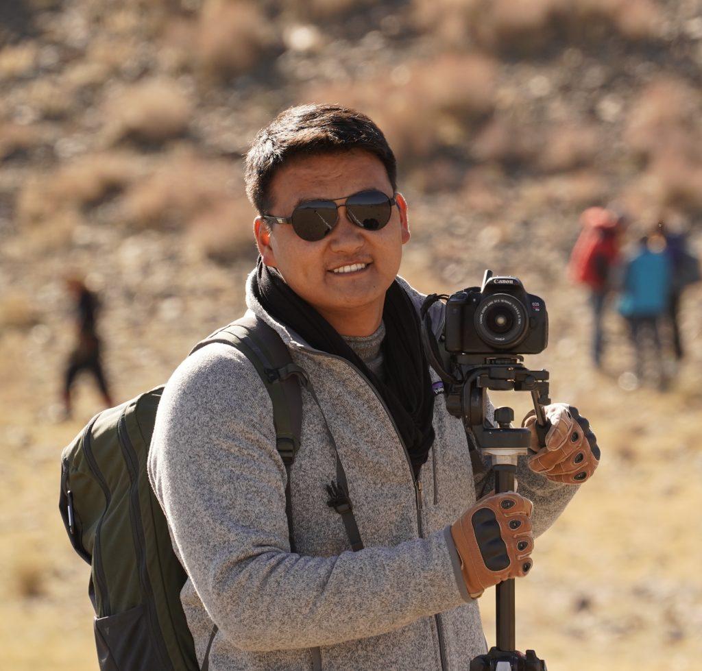 Buyandelger Ganbaatar with a camera, Mongolia. Photo credit: Buyandelger Ganbaatar