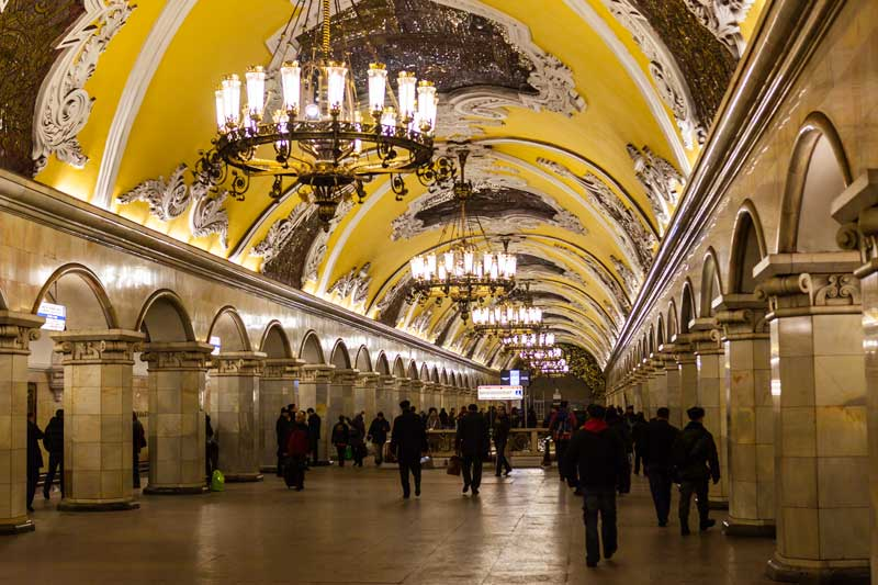 Crystal chandeliers are featured throughout the Moscow Metro's Komsomolskaya station. Photo credit: Jonathan Irish