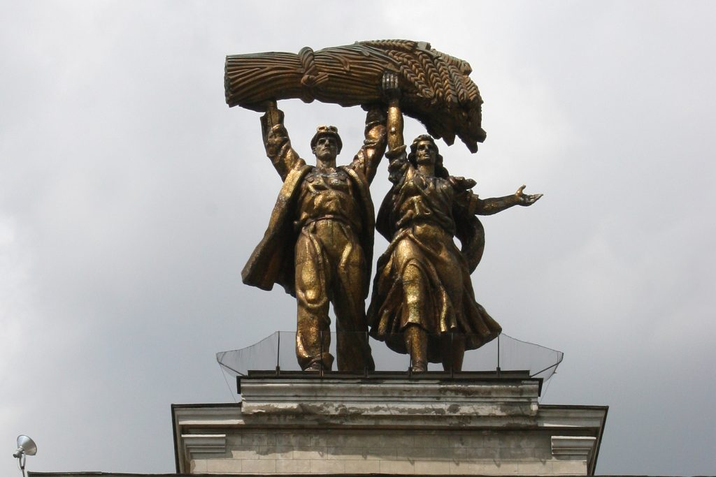 The Worker and Kolkhoz Woman Statue at VDNKh in Moscow, Russia. Photo credit: Jim Beers