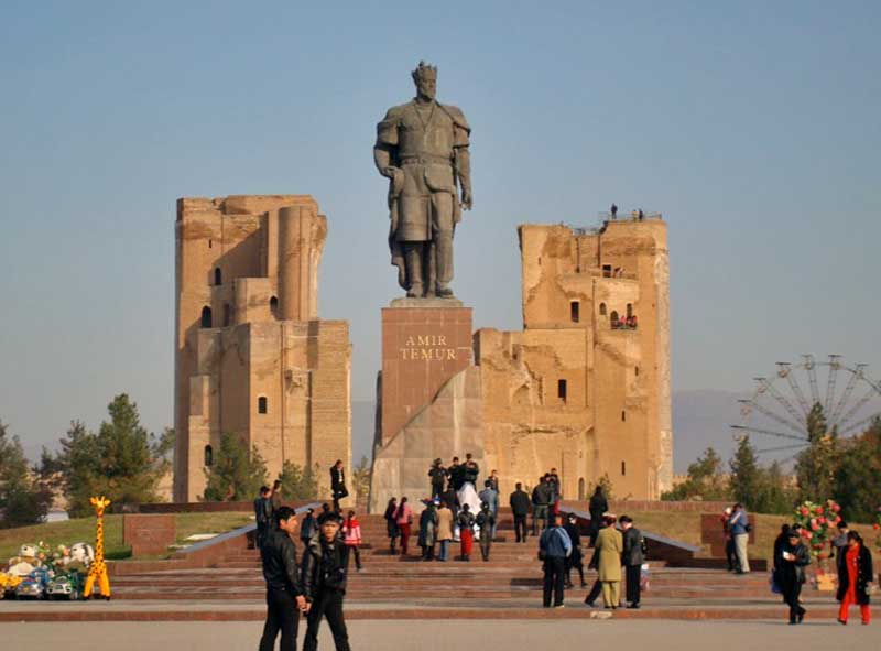 Tamerlane (Amir Timur) towers over the ruins of his most ambitious project, Ak Saray Palace. Photo credit: Jered Gorman