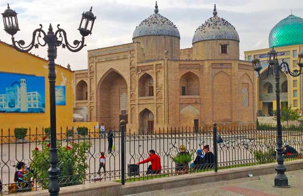 First built in the 12th century, the sacred Muslihiddin Memorial Complex is located in Khujand's Old Town. Photo credit: Michel Behar