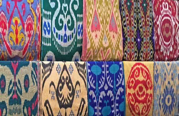 Uzbek ikat silk fabrics are bold in color and complex in design – truly treasures of the Silk Road. Photo credit: Megan Gilboy