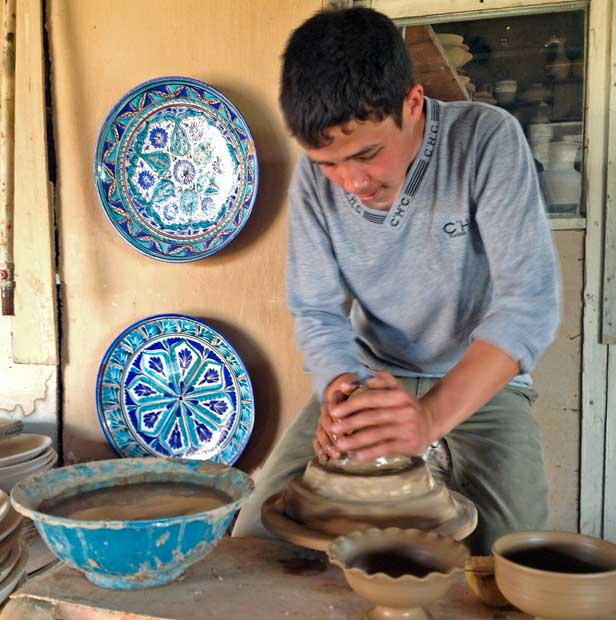 The skills to create Uzbek ceramics have been handed down from father to son for generations. Photo credit: Michel Behar