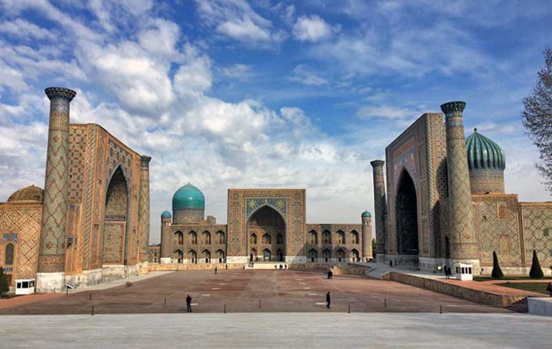 With its three madrassahs, the Registan is arguably the iconic symbol of all Central Asia; Ulug Bek is on the left, Tillya-Kori in the center, and Shir-Dor on the right. Photo credit: Abdu Samadov