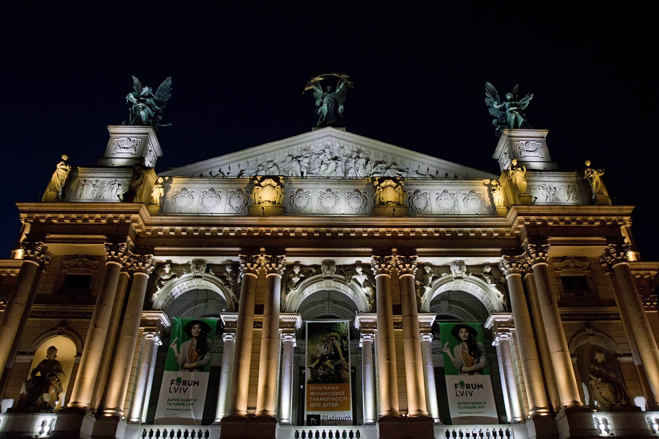 Lviv Opera House at night. Photo credit: Richard Fejfar