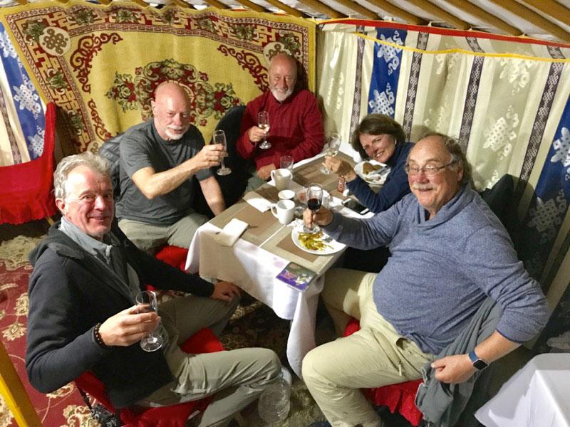 A toast inside a ger in Ulgii. Photo credit: Michel Behar