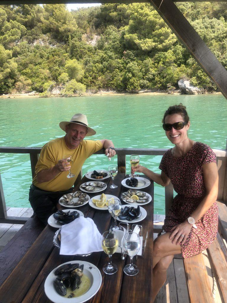 Enjoying seafood and wine. Photo credit: Natalie Hesse