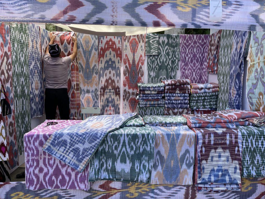 Ikat silk fabric for sale in Bukhara, Uzbekistan. Photo credit: Abdu Samadov